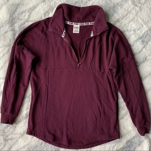 PINK Maroon Zip Up Sweatshirt
